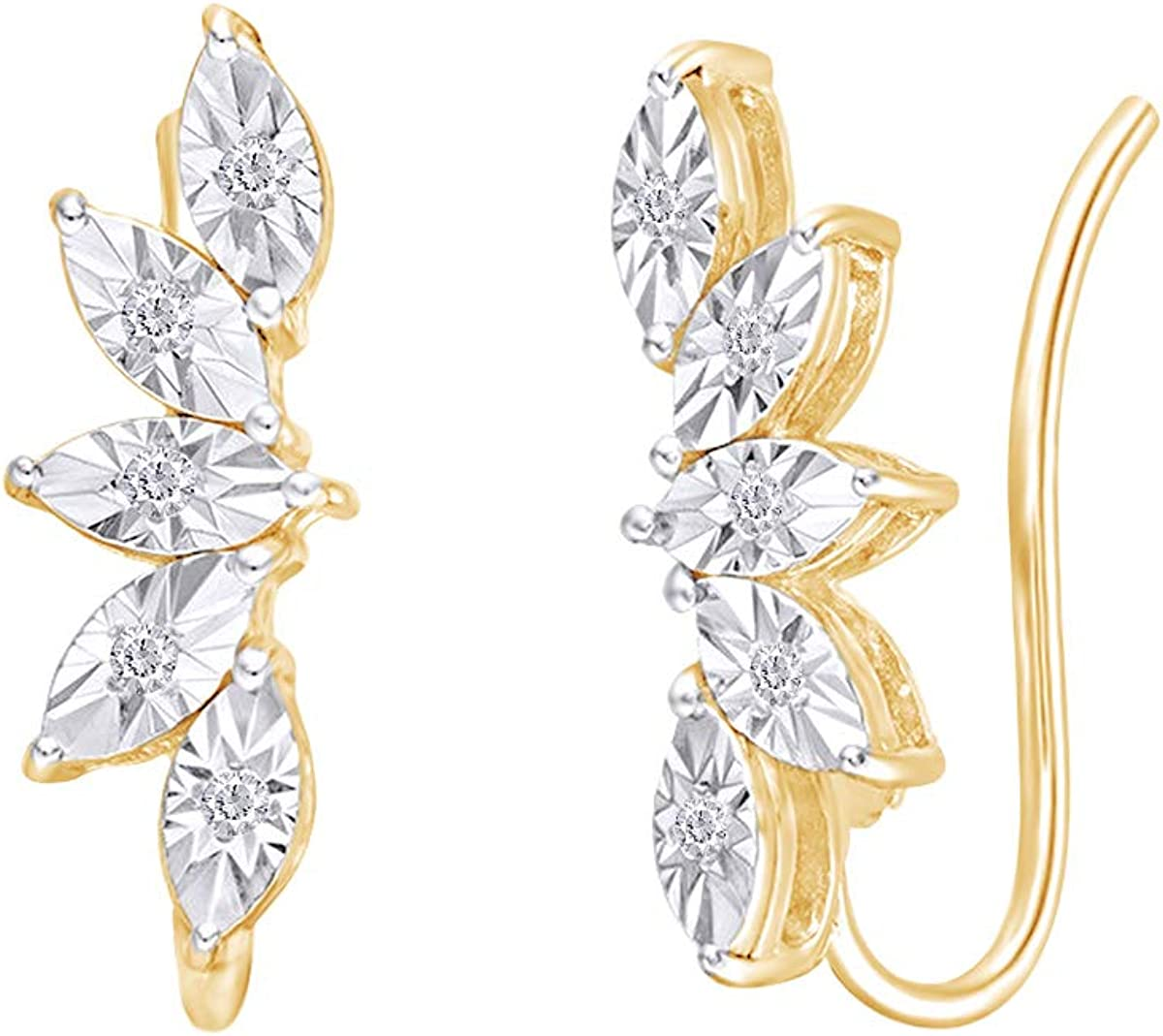 Samaira Jewelry Miracle Set Natural Diamond Leaf Fan Crawler Earrings in 14K Gold Plated 925 Sterling Silver For Women 0.04 Cttw, I-J Color, I2-I3 Clarity