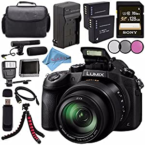 Panasonic Lumix DMC-FZ1000 Digital Camera + Lithium Ion Battery + Charger + Sony 128GB SDXC Card + Case + Tripod + HDMI Cable + Memory Card Wallet + Card Reader + Fibercloth + Flash Bundle