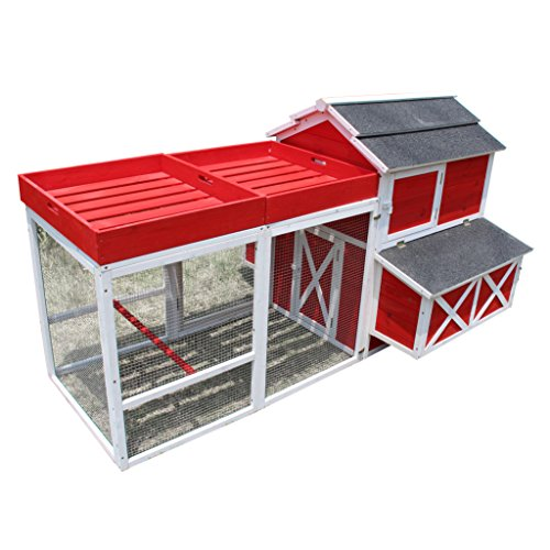 Zoovilla Red Barn Large Chicken Coop Metal Nest Box with Rooftop Planter (Building Your Own Chicken Coop And Run)