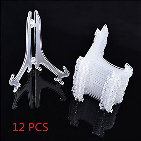 Xiaolanwelc@ 12Pcs/Set Clear Plastic Easels Plate Holders Display Dish Rack Picture Frame Photo Book Pedestal Holder Display Stand - Vertical Stander