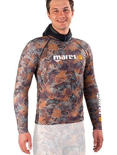 Mares Men's Pure Instinct Rash Guard Top, Camo Brown, Medium (Rash Guard Mares)