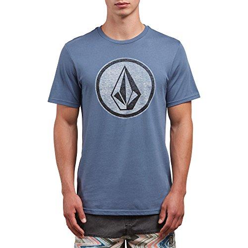 Diagonal Stripe Woven Shirt - Volcom Men's Classic Stone Short Sleeve Tee, Deep Blue, M