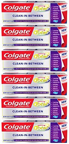 Colgate Total Foaming Gel Toothpaste, Clean-In-Between - 4 ounce (6 Pack)