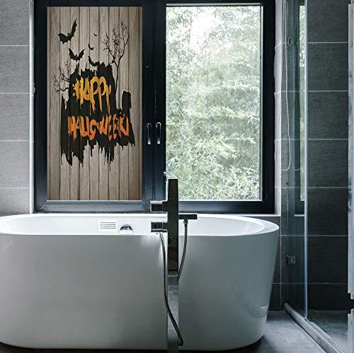 YOLIYANA Vinyl Window Film,Halloween Decorations,Work Well in The Bathroom,Happy Graffiti Style Lettering on Rustic Wooden Fence,24''x48'' ()
