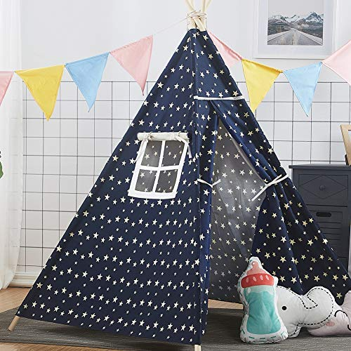- Infant Shining Playhouse Play Tent Game Foldable Teepee Kids Baby Large Tipi Indian Style Four Poles Cotton Canvas Cloth and Wooden Kits Window for Indoor and Outdoor Blue