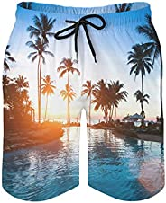 Beach Shorts Hawaiian Sunset Palm Trees Quick Dry Surf Shorts for Men Durable Travel Pants