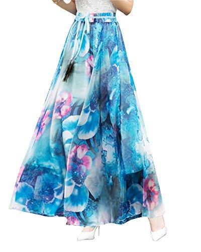Femme de Jupe Jupes Taille Haute Longue Floral Soie 6Bleu Bohmienne Mousseline en Maxi ppqwRAOr