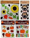 Fall Decorations - Window Gels Bright Sunflowers, Pumpkins, Apples, Owls, Acorns, Fall Leaves, Harvest Blessings More – 4 Sheets