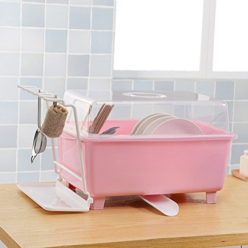 SUNLIGHTAM Kitchen Dish Drying Rack Bowls Dishes Chopsticks Cups Holder Organizer Tableware Drainer Rack Shelf Stock Storage with Cover (Pink)