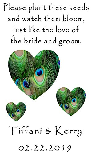 - Personalized Wedding Favor Wildflower Seed Packets Peacock Hearts Design 6 verses to choose from Set of 100