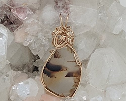 Montana Moss Agate Pendant (2 X 1 Inches) Wrapped With 14 Karat Gold Filled Wire (Natural Stone Pendant) (Brown) (Wire Wrap)