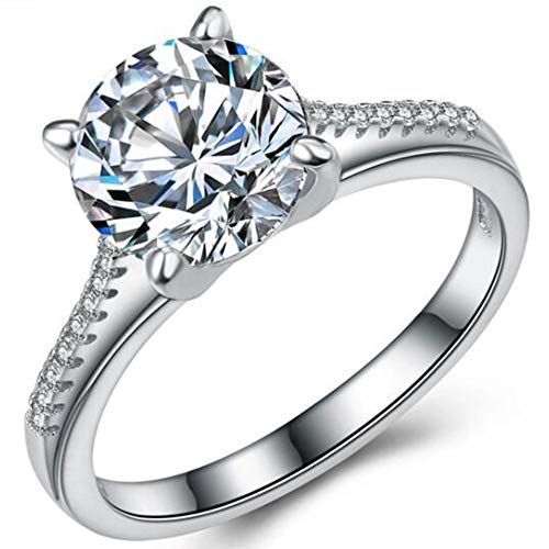 Jude Jewelers Stainless Steel 2.0 Carat Wedding Engagement Propose Statement Anniversary Ring (Silver, 6)