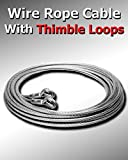 50 ft 3/8'' Galvanized Wire Rope Cable With Thimble Loops On Both Ends Choose Size/Quantity In Listing Super-Deals-Shop