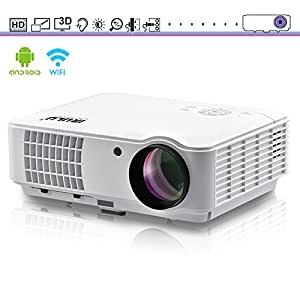 """WiFi Projector iRULU 10Pro HD 720P Video projector, Android 4.4 8GB Max 200"""" Big Screen Support 1080P Video, High Brightness LED Projector For Movies Games Parties Home Cinema Theater"""