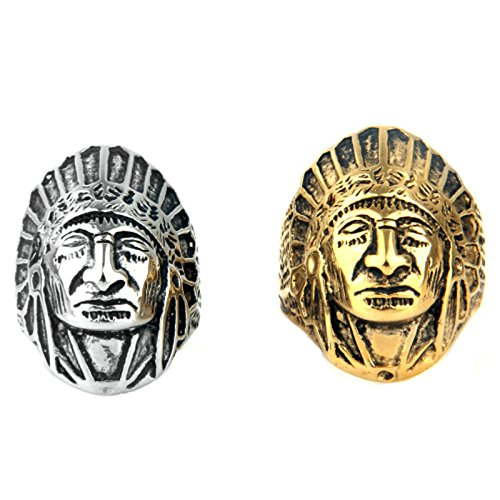 MoAndy Fashion Ring Men Stainless Steel Vintage Retro Silver Indian Chief Ring 2CM Size 11 ()