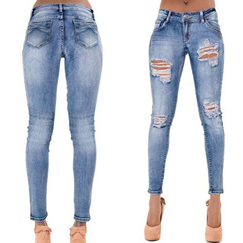 Zhhlaixing Moda Donna Buco Jeans Azzurro Strappato Sbiadito Allungare Pantaloni Sottile Da Blu Magro Denim Comodo I rpxvzrg