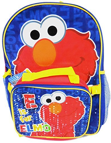 Sesame Street Elmo Large Backpack with Lunch Box (Sesame Street School Supplies Set)