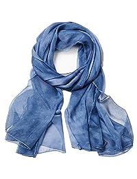 Women Spring Summer Chiffon Solid Scarf Beach Towel Sunscreen Shawls and Wraps Blue
