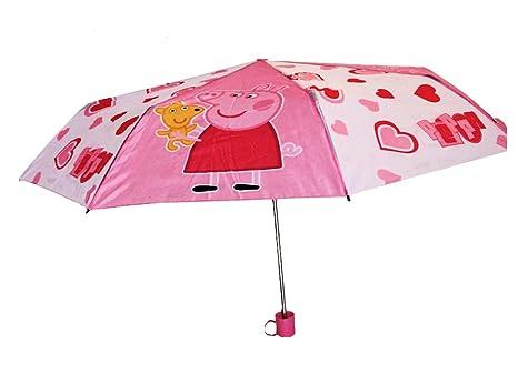 Producto oficial con licencia – Peppa Pig – Peppa y osito rosa paraguas con funda