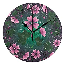 LORVIES Mallow Pattern Wall Clock Silent Non Ticking Acrylic Decorative 10 Inch Round Clock for Home Office School