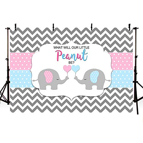 MEHOFOTO Peanut Elephant Gender Reveal Baby Shower He or She Backdrop Blue or Pink Grey Wave Boy or Girl Photography Background Photo Banner 7x5ft