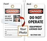 , Photo Lockout Tag, 15 mil Vinyl with Self-Laminating Clear Flap, 25 Tags / Pack, 6'' x 3.25''
