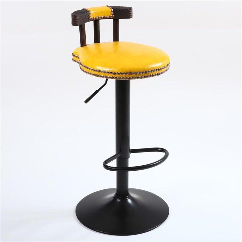 カウンターチェアソリッドウッドレトロシートハイスツールバーキッチンブレックファイドチェアコーヒーショップダイニングチェアは、上下に上げることができます/椅子を回転させる黄色PU (色 : #2) B07DJ71ZG5 #2 #2