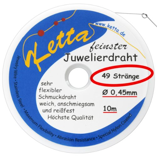Schmuckdraht - 0,45 mm - 49 Stränge - silber - ORIGINAL Ketta Juwelierdraht + Bastelanleitung