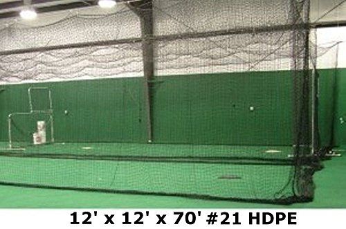 Batting Cage Net 12' H x 12' W x 70' L #21 HDPE Medium Duty Baseball Softball Netting by Jones Sports