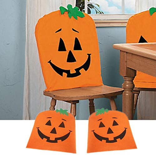 Halloween Pumpkin Chair Cover, Halloween Holiday Fabric Pumpkin Chair Cover Halloween Kitchen Chair Covers Featuring for Holiday Party, Festival Halloween Kitchen Dining Room Chairs Party Decorations ()