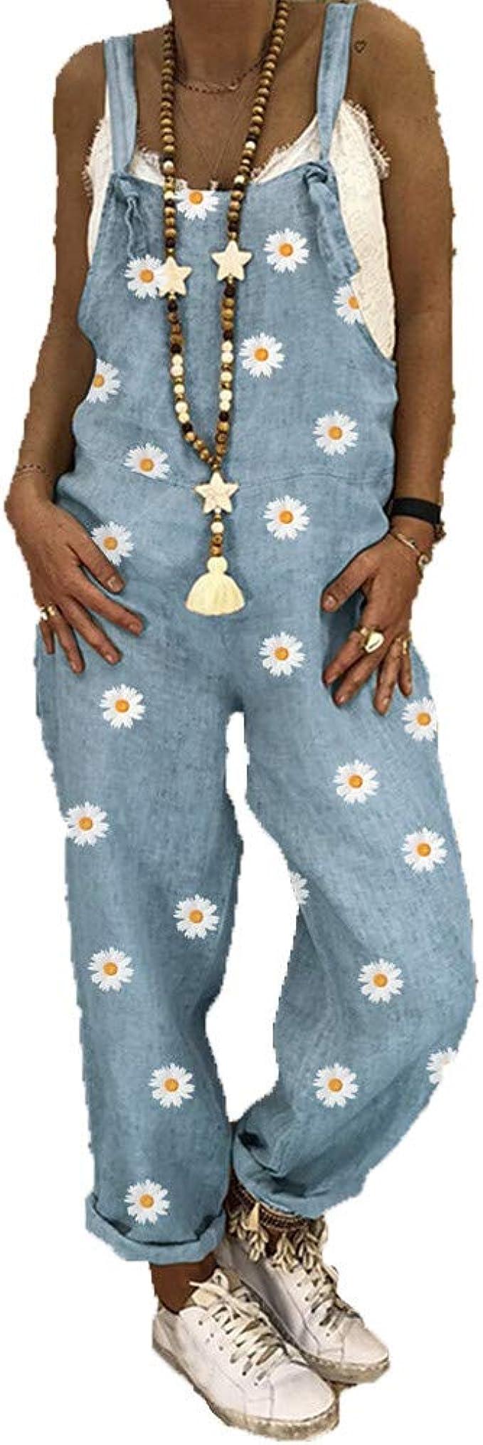 Morbuy Verano Baggy Harem Mono Suelto Moda Bolsillos Overoles Jumpsuit Tirantes Playa Fiesta Noche Oficina Pantalones Embarazados Margaritas Petos de Pantalones Largo Casual para Mujer