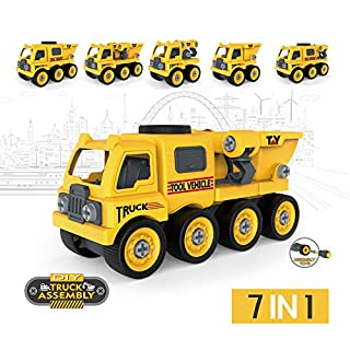 Take Apart Toy for Boys, DIY Truck Assembly with Screwdriver Construction Vehicles 46pcs (Yellow Truck 7in1)