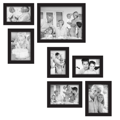 mcs 7 piece gallery frame set black 49709