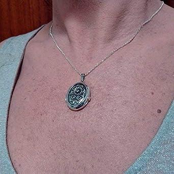 Chaîne Collier Sautoir D703 925 Sterling Argent Ovale fleur photo Médaillon Pendentif