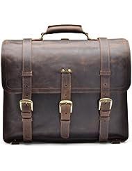 Hølssen Satchel Briefcase Backpack Messenger 16 Laptop Genuine Leather Bag