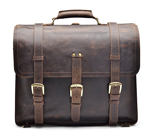 Hølssen Satchel Briefcase Backpack Messenger 16'' Laptop Genuine Leather Bag by Hølssen