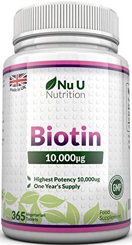 Biotin Haarwuchs - Ergänzungsmittel, 365 Tabletten (Versorgung für ein ganzes Jahr) Nu U hochdosiertes Biotin 10,000 mcg, Vitamin B7 für gesunde Haare, Nägel und Haut - für Vegetarier geeignet