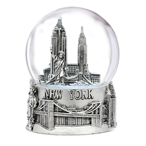 (Silver New York City Snow Globe 4.5 Inch Tall, NYC Snow Globes Collection (80mm Glass Globe))