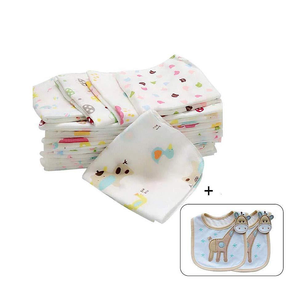 Swovo Baby Burp Cloths Baby Bibs Set Washcloths Double Layer Organic Cotton Breathable Baby Face Towels Newborn Natural 12 Set