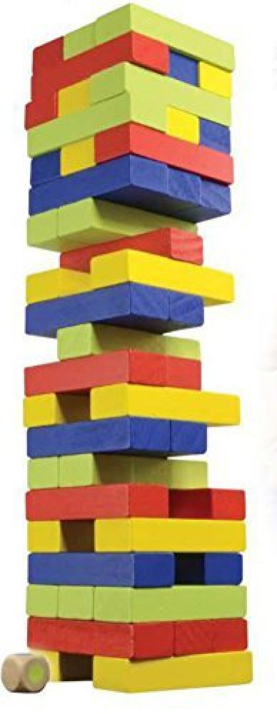 Classic Games Colored Wood Tumble Blocks