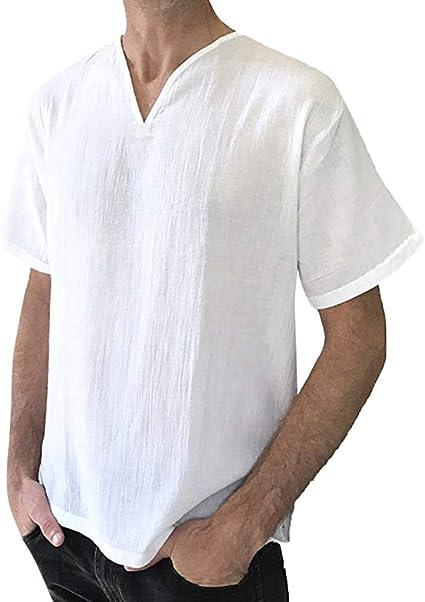MOTOCO Hombre Camiseta Superior de Color SóLido con Cuello En V Camisa Henry Media Manga de Lino de AlgodóN Informal 3/4 Manga Blusa de Manga Larga de Verano(3XL, Blanco): Amazon.es: Ropa y