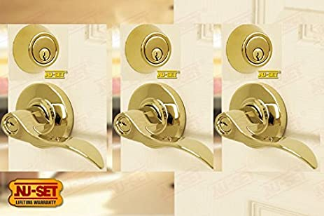 3 Sets of NuSet Abbey Grade 2 Commercial Entry Door Lever Locks and Single Cylinder & 3 Sets of NuSet Abbey Grade 2 Commercial Entry Door Lever Locks and ...