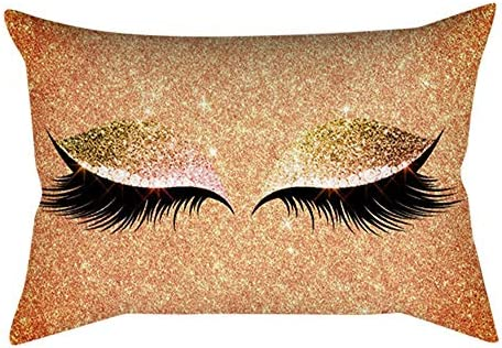 VJGOAL Moda Impresión de pestañas Suave Rectangular Funda de cojín Mármol Fundas de Almohada cómodas 30x50cm(30_x_50_cm,Multicolor13)