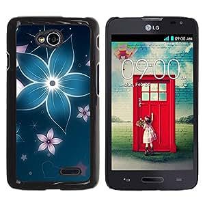 TECHCASE**Cubierta de la caja de protección la piel dura para el ** LG Optimus L70 / LS620 / D325 / MS323 ** Floral Flower Petal Blue Star Iridescent