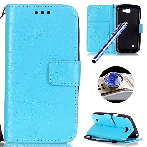[ LG K4 ] Funda Protector de Funda para Telefono Movil,LG K4 Funda Caso de PU Cuero Leather,Diseño de Mariposa y Flor de la Vid Funda para LG K4,Flip Folio Bookstyle con Cierre Magnético,Ranuras para  Mariposa Azul