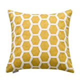 Decorative Pillow Cover - Slow Cow 18x18 inches Cotton Modern Family Embroidery Cushion Pillow Covers, Geometric Zipper Yellow Pillow Case Decorative Throw Pillows for Living Room, Best Home Décor Gift for Kids!