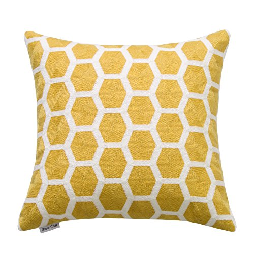 SLOW COW Cotton Embroidery Throw Pillow Cover 18x18 inches, Invisible Zipper Yellow Throw Pillow for Living (Embroidered Decorative Pillow Sham)