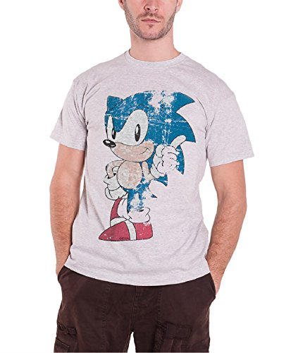 Sega Sonic the Hedgehog Vintage distressed Official Mens New Grey T Shirt