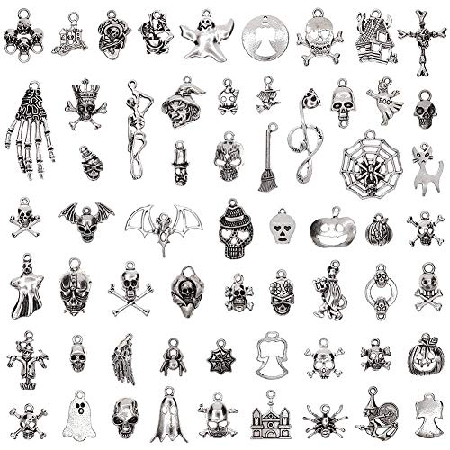 KeyZone 60 Pcs/Set DIY Antique Mixed Charm Pendants Jewelry for Necklace Craft Making Ideal 2