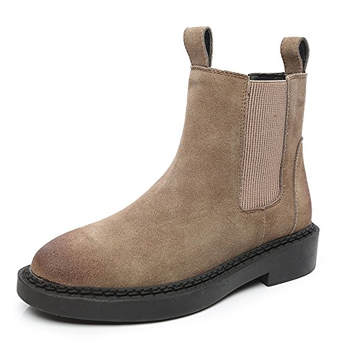 sexy Women's Boots Flat Apricot Nubuck Caramel Colour Short Boots British Style Outdoor (Color : B-THICK, Size : EU36/UK3.5/CN35) B-thick
